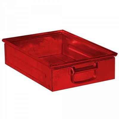 Stapeltransportkasten ST4 aus Stahl, stapelbar LxBxH 450 x 300 x 120 mm, Inhalt 15 Liter, Stahlblech lackiert, Farbe: rot
