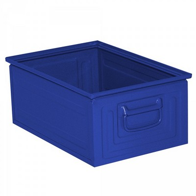 Stapeltransportkasten ST3 aus Stahl, stapelbar LxBxH 450 x 300 x 200 mm, Inhalt 25 Liter, Stahlblech lackiert, Farbe: blau