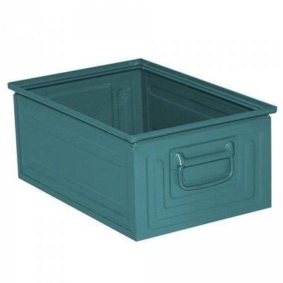 Stapeltransportkasten ST3 aus Stahl, stapelbar LxBxH 450 x 300 x 200 mm, Inhalt 25 Liter, Stahlblech lackiert, Farbe: blaugrün