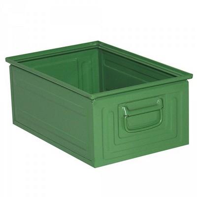 Stapeltransportkasten ST3 aus Stahl, stapelbar LxBxH 450 x 300 x 200 mm, Inhalt 25 Liter, Stahlblech lackiert, Farbe: grün