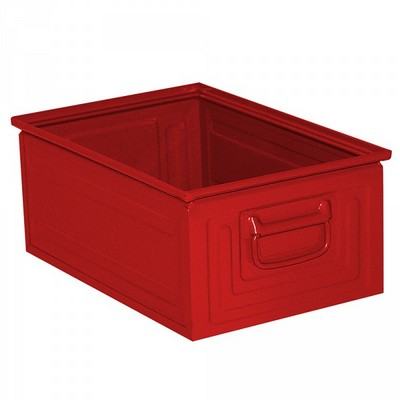 Stapeltransportkasten ST3 aus Stahl, stapelbar LxBxH 450 x 300 x 200 mm, Inhalt 25 Liter, Stahlblech lackiert, Farbe: rot