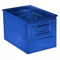 Stapeltransportkasten ST2 aus Stahl, stapelbar LxBxH 450 x 300 x 300 mm, Inhalt 39 Liter, Stahlblech lackiert, Farbe: blau