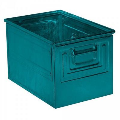 Stapeltransportkasten ST2 aus Stahl, stapelbar LxBxH 450 x 300 x 300 mm, Inhalt 39 Liter, Stahlblech lackiert, Farbe: blaugrün