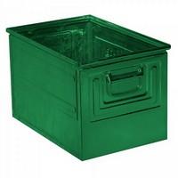 Stapeltransportkasten ST2 aus Stahl, stapelbar LxBxH 450 x 300 x 300 mm, Inhalt 39 Liter, Stahlblech lackiert, Farbe: grün