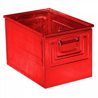 Stapeltransportkasten ST2 aus Stahl, stapelbar LxBxH 450 x 300 x 300 mm, Inhalt 39 Liter, Stahlblech lackiert, Farbe: rot