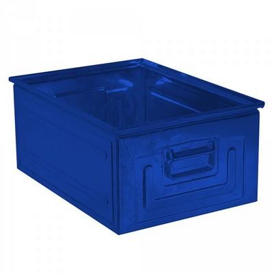 Stapeltransportkasten ST0 aus Stahl, stapelbar LxBxH 630 x 450 x 300 mm, Inhalt 80 Liter, Stahlblech lackiert, Farbe: blau