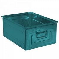 Stapeltransportkasten ST0 aus Stahl, stapelbar LxBxH 630 x 450 x 300 mm, Inhalt 80 Liter, Stahlblech lackiert, Farbe: blaugrün