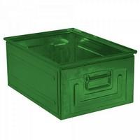 Stapeltransportkasten ST0 aus Stahl, stapelbar LxBxH 630 x 450 x 300 mm, Inhalt 80 Liter, Stahlblech lackiert, Farbe: grün