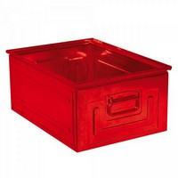 Stapeltransportkasten ST0 aus Stahl, stapelbar LxBxH 630 x 450 x 300 mm, Inhalt 80 Liter, Stahlblech lackiert, Farbe: rot