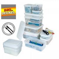 Vorratsbox für kalte und heiße Lebensmittel, lebensmittelechtes Polypropylen (PP) Kunststoff, mit Deckel, LxBxH 176 x 162 x 65 mm, Inhalt 1,1 Liter