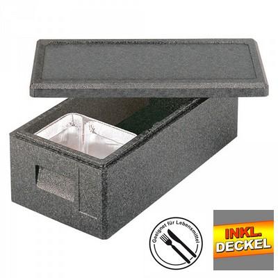 Isobehälter für Tiefkühlwaren, bis -40ºC, LxBxH 630 x 300 x 200 mm, 17 Liter mit Deckel