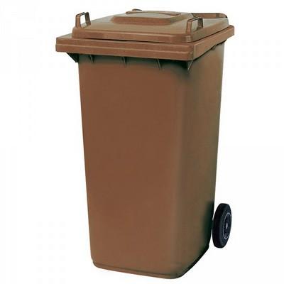 Mülltonne 240 Liter, Kunststoff, mit Rollen, braun