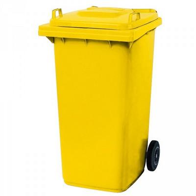 Mülltonne 240 Liter, Kunststoff, mit Rollen, gelb