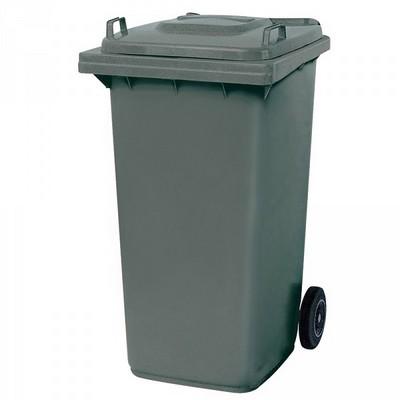 Mülltonne 240 Liter, Kunststoff, mit Rollen, grau