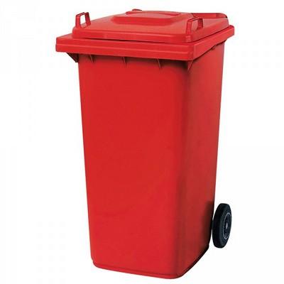 Mülltonne 240 Liter, Kunststoff, mit Rollen, rot