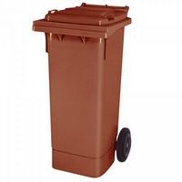 Mülltonne 80 Liter, Kunststoff, mit Rollen, braun