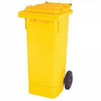 Mülltonne 80 Liter, Kunststoff, mit Rollen, gelb