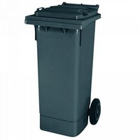 Mülltonne 80 Liter, Kunststoff, mit Rollen, grau