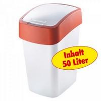 Abfallbehälter mit Schwing- oder Klappdeckel, Polypropylen-Kunststoff PP - HxBxT 653 x 376 x 294 mm, Inhalt 50 Liter, weiß/rot