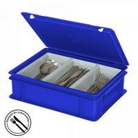 Besteckkasten mit 3 Mulden, mit Deckel und Schiebeverschluss, spülmaschinenfest, LxBxH 400 x 300 x 130 mm, Farbe: blau