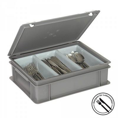 Besteckkasten mit 3 Mulden, mit Deckel und Schiebeverschluss, spülmaschinenfest, LxBxH 400 x 300 x 130 mm, Farbe: grau