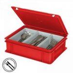 Besteckkasten mit 3 Mulden, mit Deckel und Schiebeverschluss, spülmaschinenfest, LxBxH ..