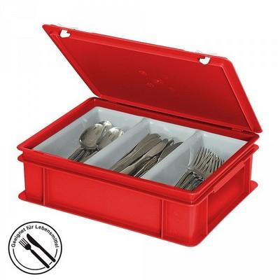 Besteckkasten mit 3 Mulden, mit Deckel und Schiebeverschluss, spülmaschinenfest, LxBxH 400 x 300 x 130 mm, Farbe: rot