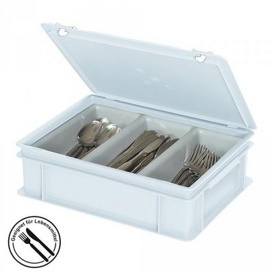 Besteckkasten mit 3 Mulden, mit Deckel und Schiebeverschluss, spülmaschinenfest, LxBxH 400 x 300 x 130 mm, Farbe: weiß