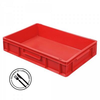 Euronorm-Stapelkästen, EC64120SCG, LxBxH 600 x 400 x 120 mm, mit 2 Griffleisten, Inhalt 23 Liter, Farbe: rot
