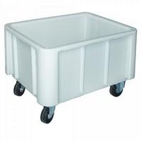 Fahrbarer Zutatencontainer, LxBxH 800 x 600 x 550 mm, weiß, Boden und Wände geschlossen, 4 Rollen