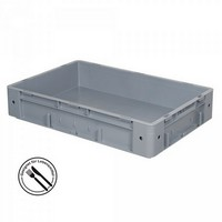 KLT für Rollenbahnen, Rippenboden, LxBxH 600 x 400 x 120 mm, grau