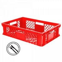 Kunststoffkorb, lebensmittelecht, stapelbar, LxBxH 600 x 400 x 150 mm, Inhalt 27 Liter, rot