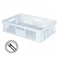 Kunststoffkorb, lebensmittelecht, stapelbar, LxBxH 600 x 400 x 150 mm, Inhalt 27 Liter, weiß