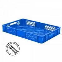 Kunststoffkorb, lebensmittelecht, stapelbar, LxBxH 600 x 400 x 90 mm, Inhalt 15 Liter, blau