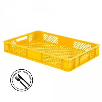 Kunststoffkorb, lebensmittelecht, stapelbar, LxBxH 600 x 400 x 90 mm, Inhalt 15 Liter, gelb