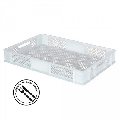 Kunststoffkorb, lebensmittelecht, stapelbar, LxBxH 600 x 400 x 90 mm, Inhalt 15 Liter, weiß