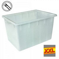 Kunststoffwanne, lebensmittelecht, LxBxH 800 x 600 x 490 mm, Inhalt 170 Liter, weiß