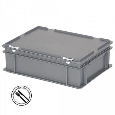 Mehrwegbehälter / Versandbehälter mit Deckel, Euro-Format, LxBxH 400 x 300 x 130 mm, grau