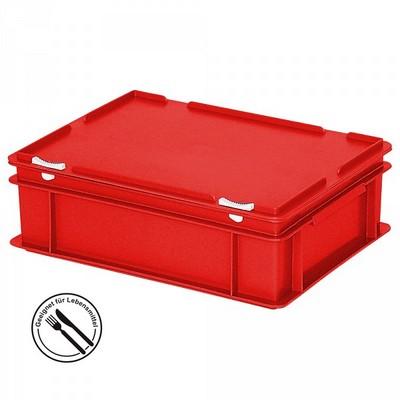 Mehrwegbehälter / Versandbehälter mit Deckel, Euro-Format, LxBxH 400 x 300 x 130 mm, rot