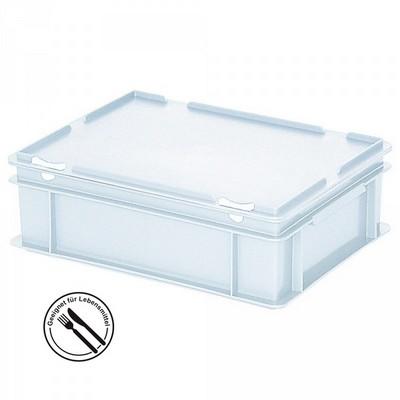 Mehrwegbehälter / Versandbehälter mit Deckel, Euro-Format, LxBxH 400 x 300 x 130 mm, weiß
