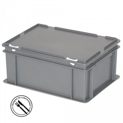 Mehrwegbehälter / Versandbehälter mit Deckel, Euro-Format, LxBxH 400 x 300 x 180 mm, grau