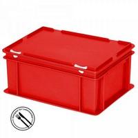 Mehrwegbehälter / Versandbehälter mit Deckel, Euro-Format, LxBxH 400 x 300 x 180 mm, rot