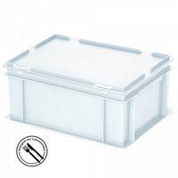 Mehrwegbehälter / Versandbehälter mit Deckel, Euro-Format, LxBxH 400 x 300 x 180 mm, weiß