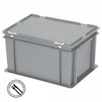 Mehrwegbehälter / Versandbehälter mit Deckel, Euro-Format, LxBxH 400 x 300 x 230 mm, grau