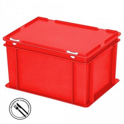 Mehrwegbehälter / Versandbehälter mit Deckel, Euro-Format, LxBxH 400 x 300 x 230 mm, rot