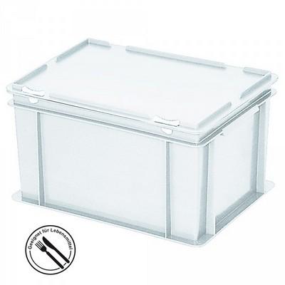 Mehrwegbehälter / Versandbehälter mit Deckel, Euro-Format, LxBxH 400 x 300 x 230 mm, weiß