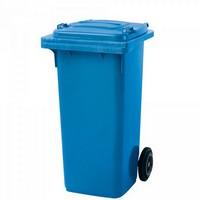 Mülltonne 120 Liter, Kunststoff, mit Rollen, blau