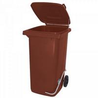 120 Liter Mülltonne, braun, mit Fußpedal