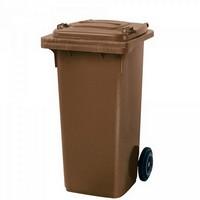 Mülltonne 120 Liter, Kunststoff, mit Rollen, braun
