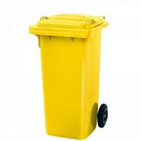 Mülltonne 120 Liter, Kunststoff, mit Rollen, gelb